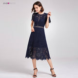 New Arrival Cocktail Dresses Ever Pretty AS05922 Women's Cheap A-line Lace Short Sleeve Cut-out High Waist Modest Party Dresses