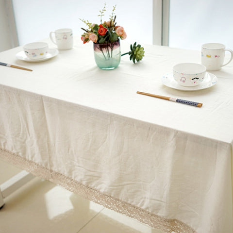 European Linen Table Cloth High Quality Pure White Tablecloths With Lace Outdoor Party Home Decor Banquet Dining Table Cover