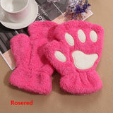 1Pair Women Girls Lovely Winter Warm Fingerless Gloves Fluffy Bear Cat Plush Paw Claw Half Finger Gloves Mitten New