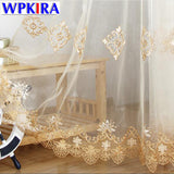 Simple Europe Luxury Water Soluble Screen Embroidery Sheer Voile Window Drapes Cortina for Living Room Door Gold Lace Curtains 5