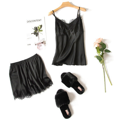 2018 New Fashion Women's Sleepwear Sexy Satin Pajama Set Black Lace V-Neck Pyjamas Sleeveless Cute Cami Top and Shorts