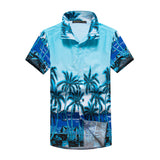 2017 New Summer Shirt Men Fashion Tops Male Casual Short Sleeve Beach Shirts Mens Body Fitness camisa masculina Plus Size 5XL