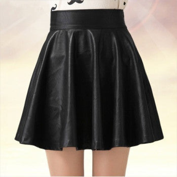 New 2018 Korean Fashion Black PU Leather Skirt Women Vintage High Waist Pleated Skirt Free Shipping Female Short Skirts