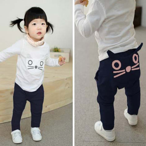 Cartoon Kawaii Boy Girl Pants Newborn Baby Pants Cotton Cat Owl Trousers Cute Infant New Boys Harem Pants Pink for Girl D15