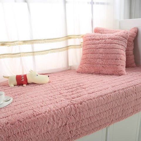 1 Pcs Plush Fabric Sofa Cover Towel Solid Color European Soft Slipcover Resistant Seat Couch Cover For Living Room Window Mats