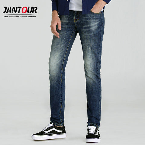jantour 2018 high quality Brand clothing blue jeans men cotton skinny Slim Casual classic Denim jean mans Pants trousers male