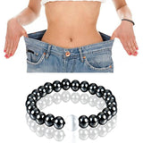 1Pc Weight Loss Round Black Stone Magnetic Therapy Bracelet Health Care Magnetic Hematite  Stretch Bracelet For Men Women