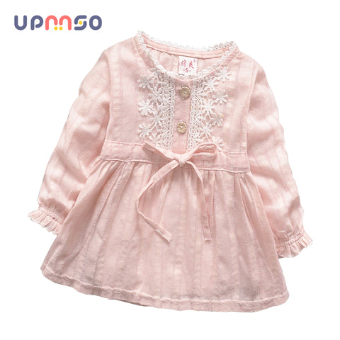 2018 Spring Summer New Cart Baby Girls Dress Long Sleeve Baby Girl Princess Dress Kid Party Clothing Baby Solid Color Dress