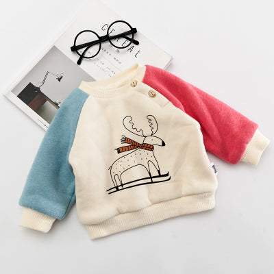 Baby Girls Winter Carton Sweatshirts Boys Dear Cashmere Tops Sweaters Long Sleeve Hoodies Baptism Birthday 1st Year Kids Clothes