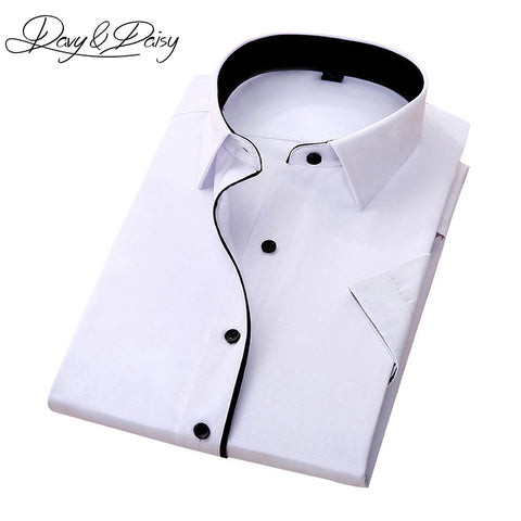 0c079202472 DAVYDAISY High Quality Social Shirt Men Business Slim Fit Short Sleeve  Solid Twill Dress Shirts Men ...