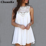 ChuanKe Womens Summer Dresses 2017 Summer White Lace Mini Party Dresses Sexy Club Casual Vintage Beach Sun Dress Plus Size