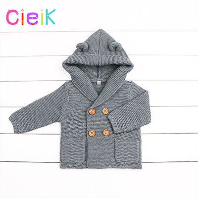 CieiK 2018 New Spring Baby Hooded Outwear Newborn Boys Jacket Rabbit Cute Infant Knitted Infant Girls Clothes Kids Winter Coats