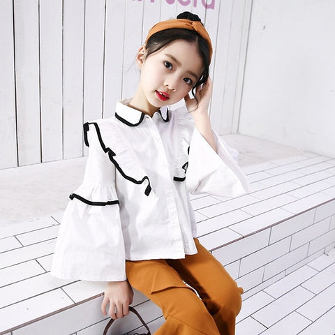 Girls Princess Blouse for Children Clothes 2018 New Hot Spring & Autumn Lace Tops Shirt Baby Kids Fashion Design Blouse Vestidos