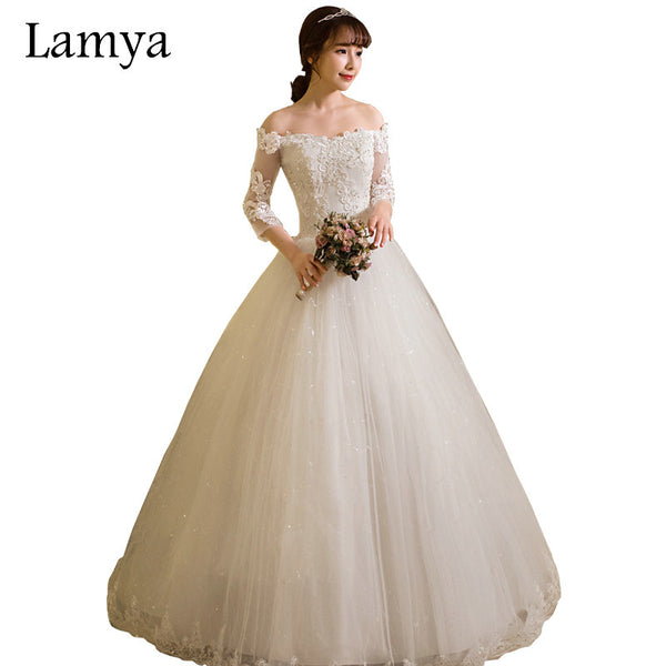 LAMYA Customized Ball Gown Lace Three Quarter Boat Neck Wedding Dresses 2018 Princess Plus Size Bridal Gowns vestido de noiva