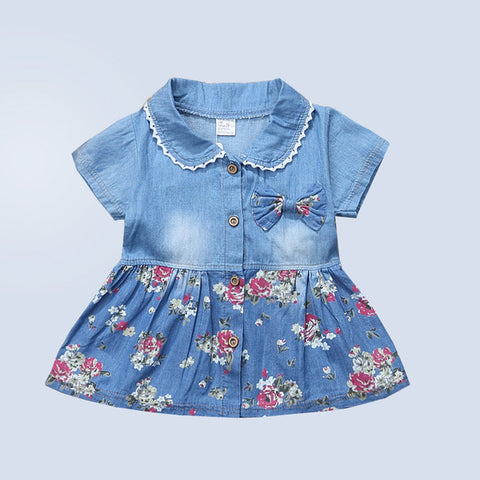 BibiCola Baby Girls Dress Toddler Baby Floral Dresses Kids Girls Summer Casual Dress Costume Girls Party Dress Clothes 0-2Y