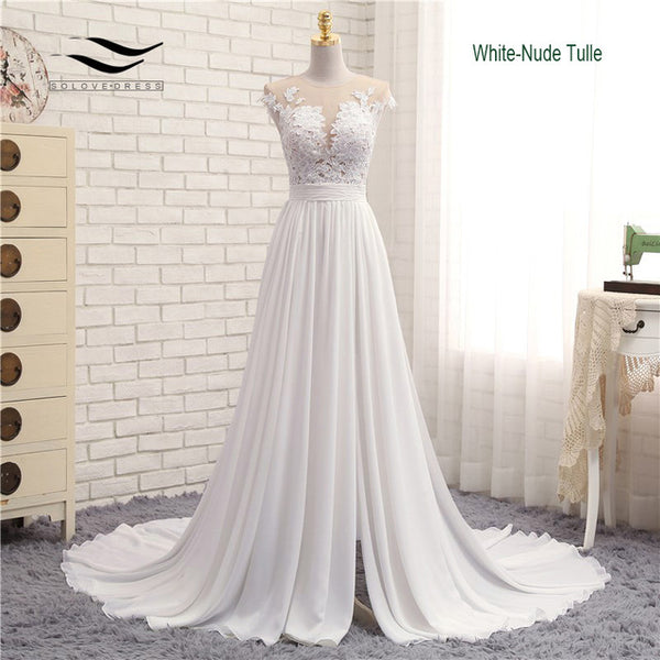Sexy V-neck  Chapel Train Long Zipper Cap Sleeves Lace Applique Line Beach Weding Dress Real Photo Wedding Gown 2017 SLD-W592
