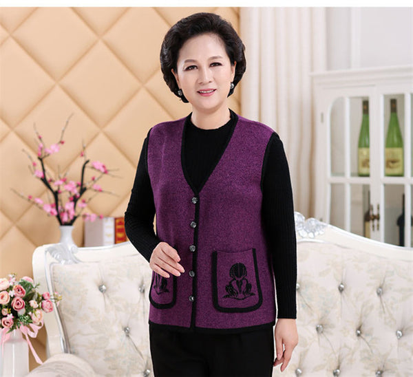 2016 New winter elderly women's cashmere knitted vest cashmere sweater vest with fertilizer increased fan art
