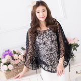 2018 Summer Casual Loose Women Batwing Sleeve Ribbon Cord Embroidery Lace Poncho Vintage Sheer Femme Cloak Jacket Coat