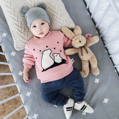 Lemonmiyu Baby Plus Velvet Cartoon Sweatshirts Cotton Cute Bear Thicken Infant O-Neck Hoodies 0-24M Button Newborn Fashion Tops