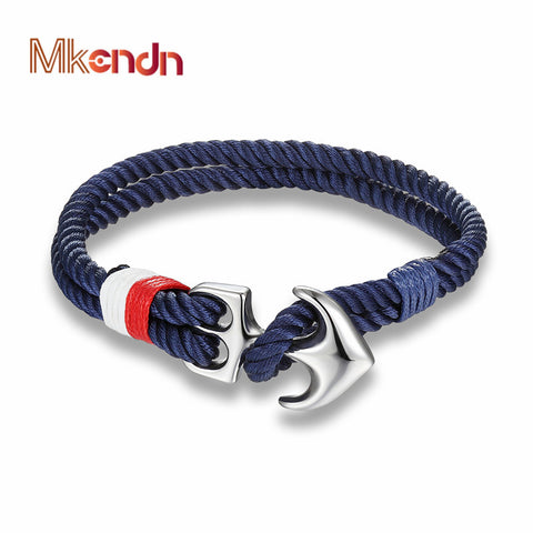 MKENDN High Quality Anchor Bracelets Men Charm Nautical Survival Rope Chain Paracord Bracelet Male Wrap Metal Sport Hooks