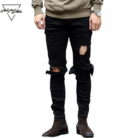 Aelfric Eden Hi-Street Men Knee Eversion Ripped Big Hole Men Jeans Streetwear Skateboard Straight Pants Man Casual Elastic Jeans
