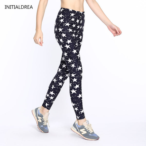 Women Leggings 2018 Fashion Star Print High Waist Stretch Elasticity Leggins Spring Autumn Slim Skinny Leggings Pants Female