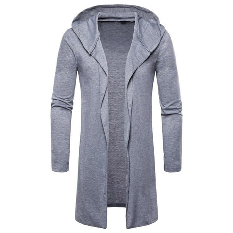 Men Spring Autumn Trench Coat Jacket Casual Hooded  Long Capes Outwear