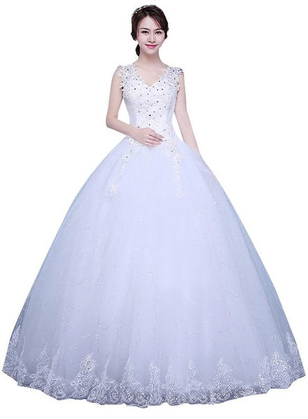 Vestido De Noiva 2018 New Arrival Organza V-neck Crystal Diamond Lace Up Ball Gown Lace Satin Princess Wedding Dresses