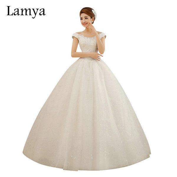LAMYA Custom size Cheap Princess Lace V-neck Wedding Dress Vintage Bridal Gown 2018  Style vestido de noiva