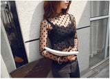Autumn Winter Sexy Transparent Mesh Blouse Shirts 2018 Fashion Women Tops Blusas Long Sleeve Femme Casual Base Bottoming Shirt