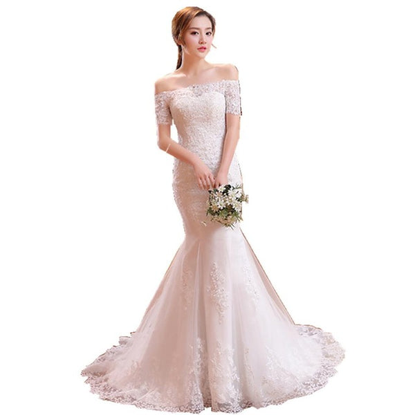 ruthshen Vintage Lace Mermaid Wedding Dresses With Sleeves 2018 Robe De Mariee Off The Shoulder Bridal Gowns From China