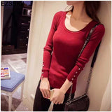 2018 new autumn winter women knitted low cut o-neck slim full sleeves button pullovers solid sweater female underwear tops