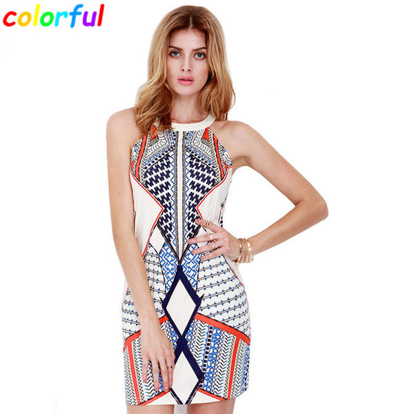 Women Bandage Dress 2016 Fashion Casual Novelty Geometric Printed Ladies Elegant Pencil Dresses European Style DR035
