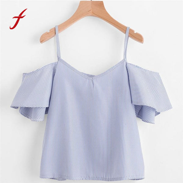 Feitong Summer Women Blouse Sexy Off Shoulder Short Sleeve Striped Crop Tops Causal Blouses Shirt blusas mujer de moda 2018 New