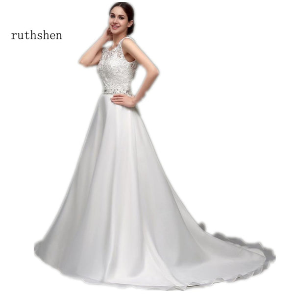 ruthshen A Line Cheap Wedding Dresses Lace Organza Sequin Beaded Backless Vestido Novia 2018 Sexy Vestido De Noiva Renda