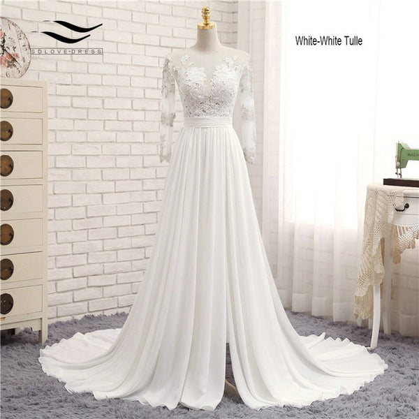 Appliques Sexy V-neck Chiffon Chapel Train Long Zipper Lace A Line Beach Wedding Dress Long Sleeves Bridal Gown 2018 SLD-W593