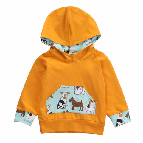Infant Baby Kids Clothing New Fashion Sweatshirt Solid Hoodies Cartoon Print Tops Children Bebe Cotton Clothes