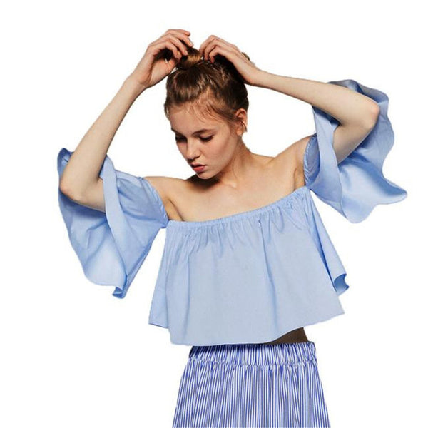 2018 Women Blouses Solid Off Shoulder Slash Neck Flare Sleeve Women Summer Tops Blusas De Verao S-XXL Plus Size Nov1