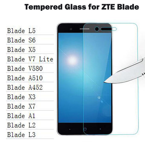 0.26mm Screen Protector HD Tempered Glass for ZTE Blade X3 X5 X7 A452 A510 A1 L5 V580 L2 L3 S6 HD Toughened Protective Film