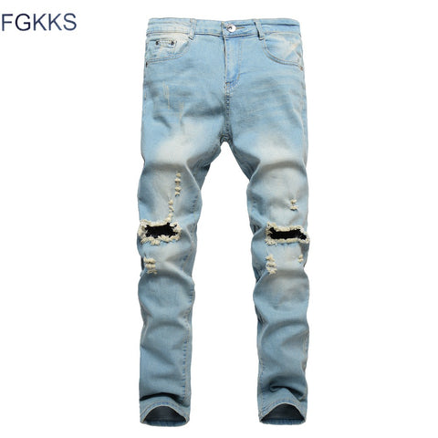 FGKKS 2018 New Ripped Jeans Men Patchwork Hollow Out Printed Beggar Cropped Pants Man Cowboys Demin Pants Male