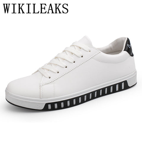 2018 White Men Sport Leather Shoes Designer Luxury Brand Casual Shoes Man Trainers Zapatos Hombre Chaussure Basket Femme Black