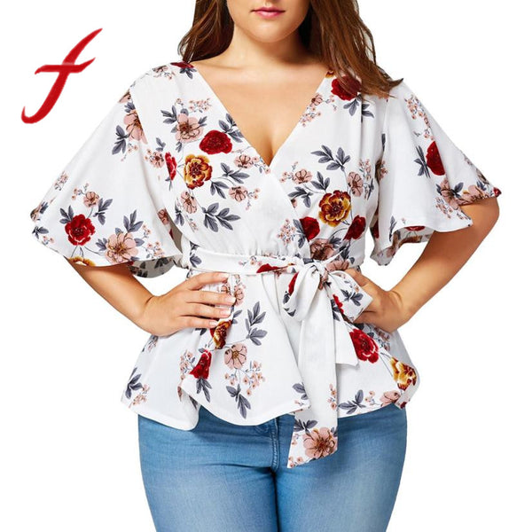 Feitong Womens Blouse Plus Size Sexy V Neck Floral Print Flare Sleeve Belted Surplice Peplum Tops Blouses blusas feminina 2018