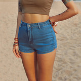 2018 Women's Fashion Brand Vintage summer Women Sexy High Waist Split Hem Denim Shorts women jeans pants