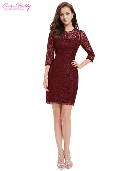 Cocktail Dresses Ever Pretty EP03792 Special Occasion Fashion Women Long Sleeve Slim Fit Elegant Lace 2018 Cocktail Dresses