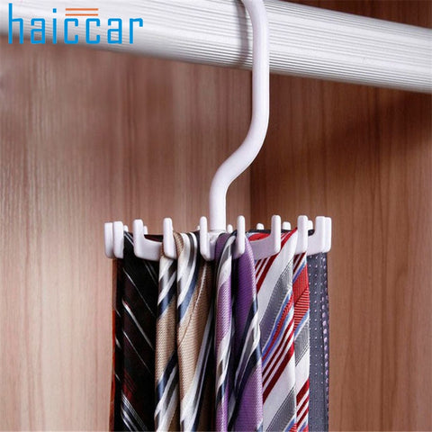 Organizer New Rotating 20 Hooks Belt Neck Tie Holder Rack Hanger Organizer Space Saving drop shipping Wholesale ap26
