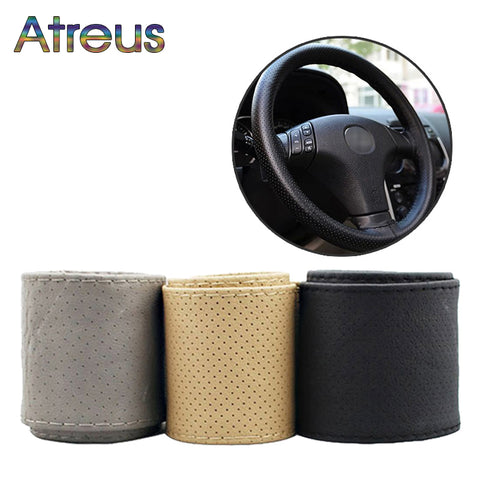 1Set Car steering wheel cover Leather Hand stitching For Toyota Corolla Avensis RAV4 C-HR Renault Dacia Duster Logan Scenic 2