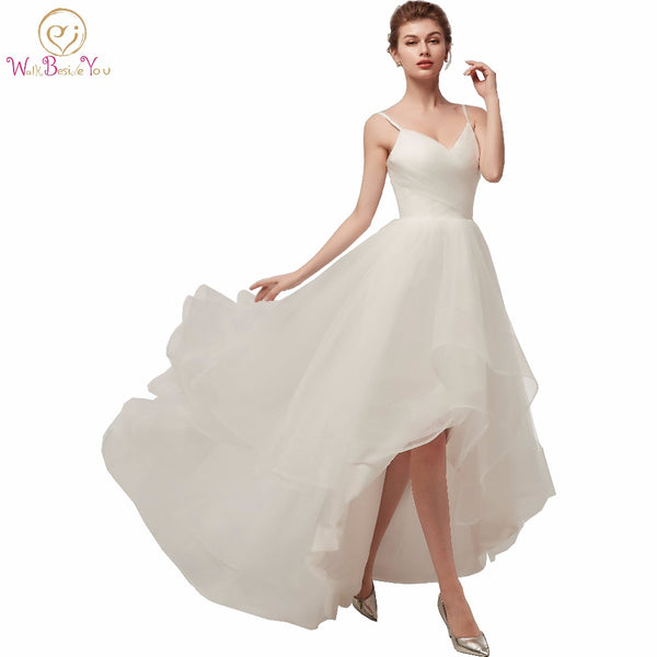Walk Beside You Ivory Wedding Dresses Spaghetti Straps V-neck Tulle Short Front Long Back Beach Boho Bride Gowns New Arrival