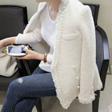 European-style white short coat female fashion models thick long sleeve ladies temperament small fragrant wind jacket