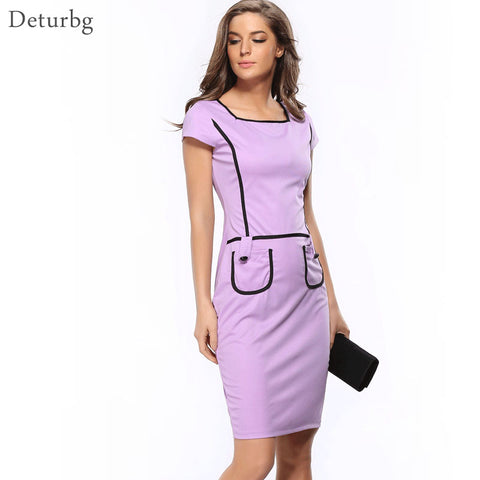 New 2018 Women Plus Size Summer Elegant Pockets Patchwork Tunic Wear to Work Casual Bodycon Pencil Office Slim Dress Dr111