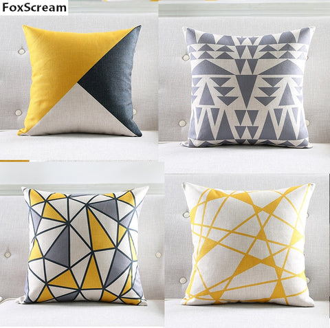 Nordic Style Cushion Cover Gray Yellow Decorative Pillows Geometric Cushions Covers Home Decor  Throw Pillow Case for Sofa 45*45